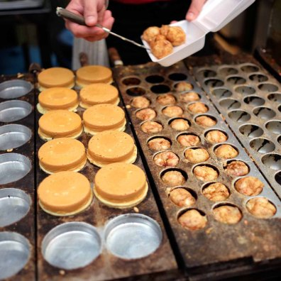 Takoyaki preparation.