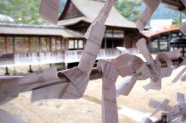 Close-up of a Shinto prayer tag.