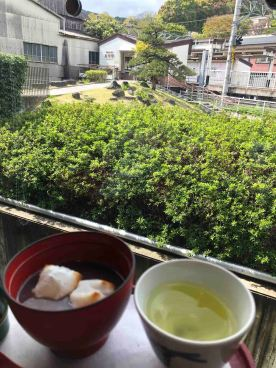 Afternoon tea with roasted mochi (Photo Credit: Yvonne Z.)