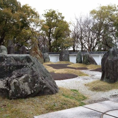 Zen garden within Osaka Castle compound.