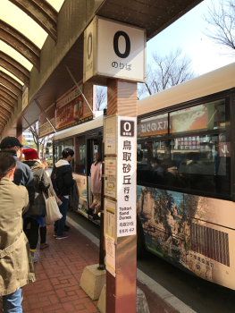 The bus stop in about 3 mins walk from Tottori train station.