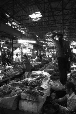 A busy wet market scene.